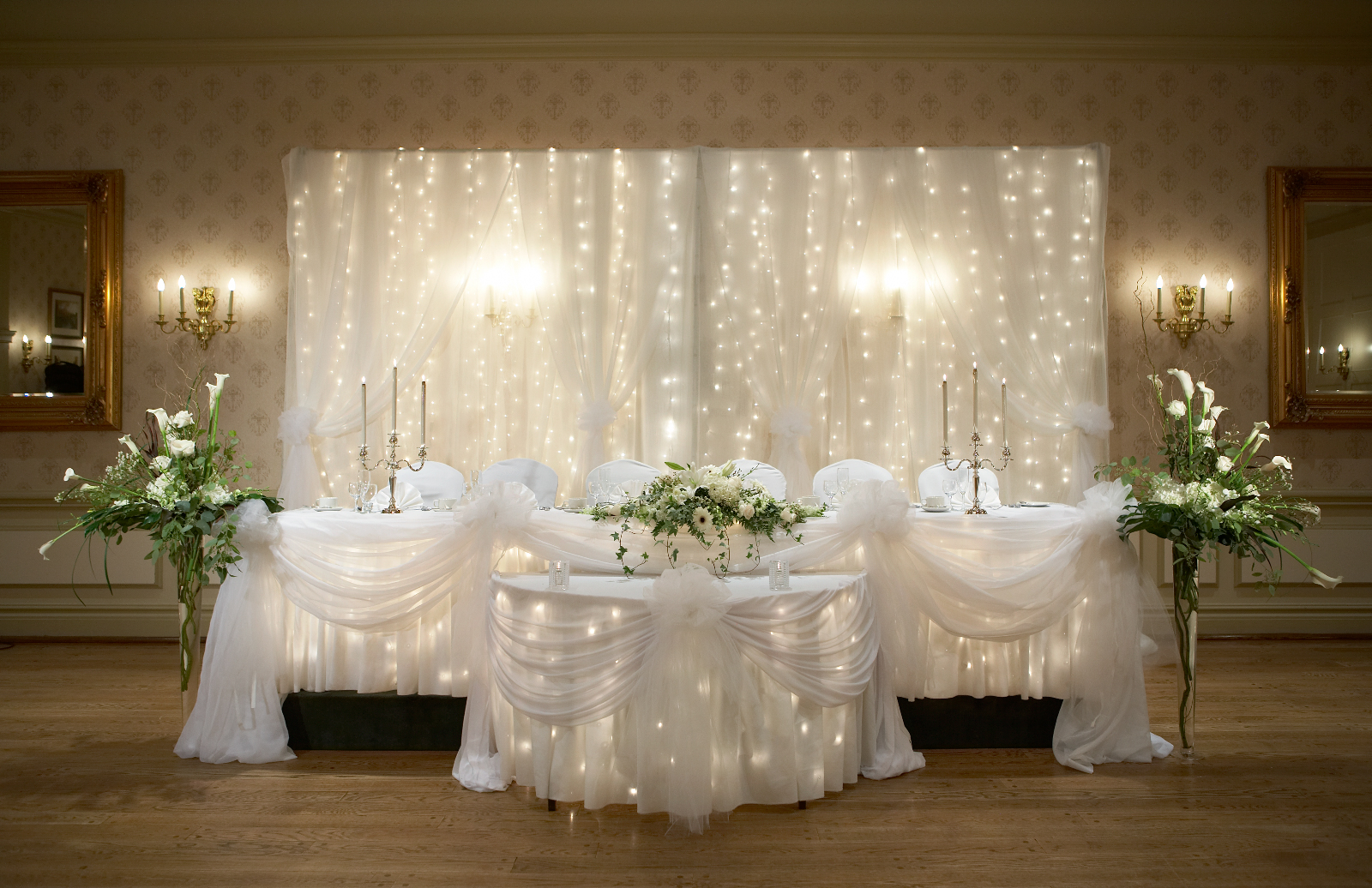 Wedding chapel decor packages at the old mill toronto head table wedding decorations junglespirit Image collections